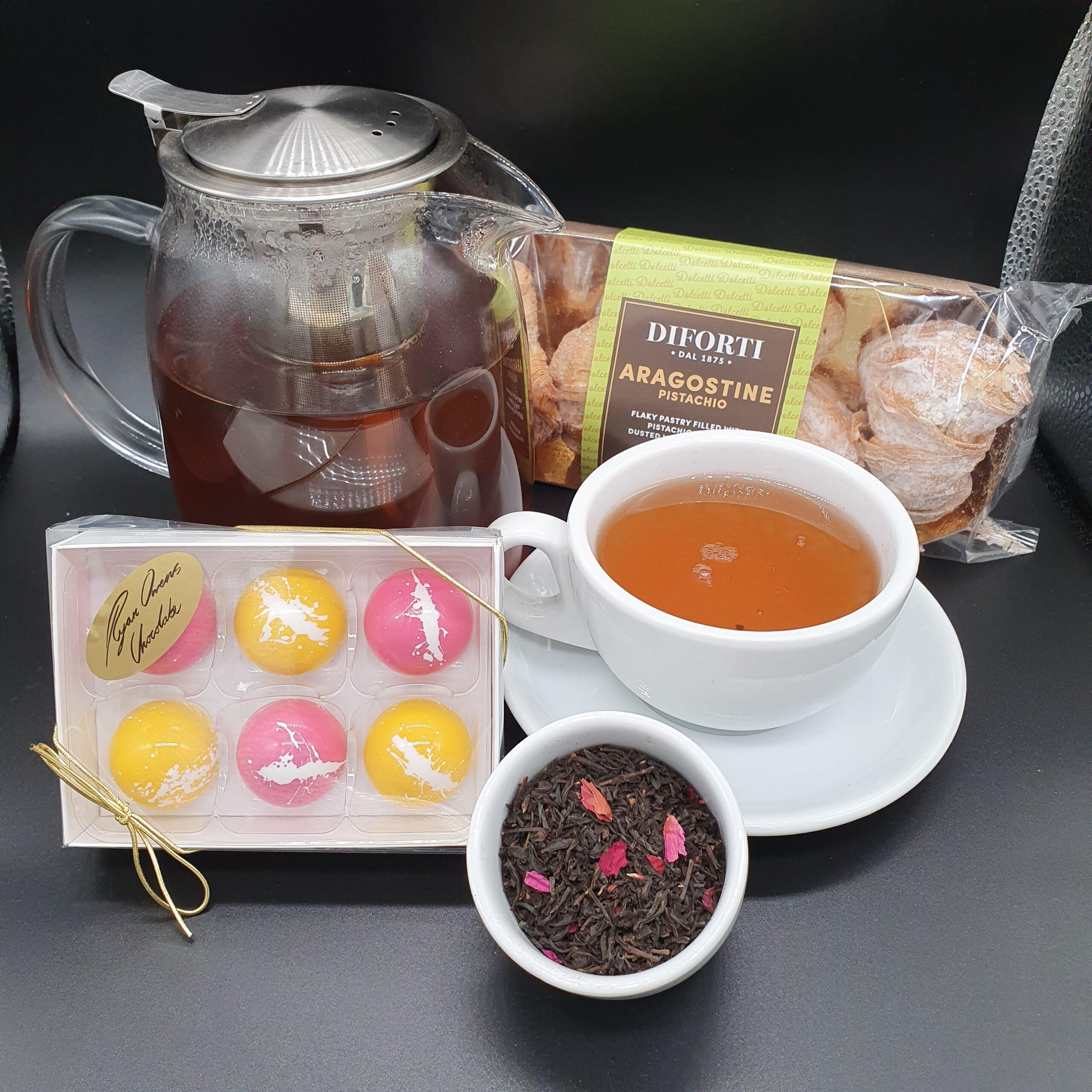 China Rose tea, Italian pastries & Ryan Owens Chocolate.